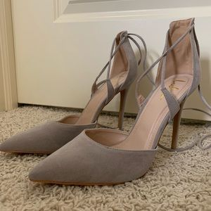 Lulu's Lace-Up Suede Heels